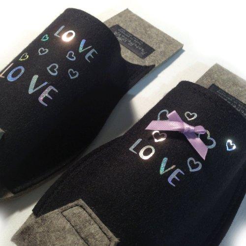 Love - Damenpantoffel, Schwarz mit silber glitzer Applikation, kleine Schleife, Unisex Größe 38-42