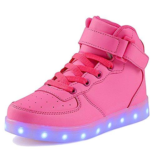 Femmes Saguaro Hommes Chaussures De Sport En Cuir 7 Changement Couleur Des Lumineux Usb Baskets Sneakers Rouge Haute Rose
