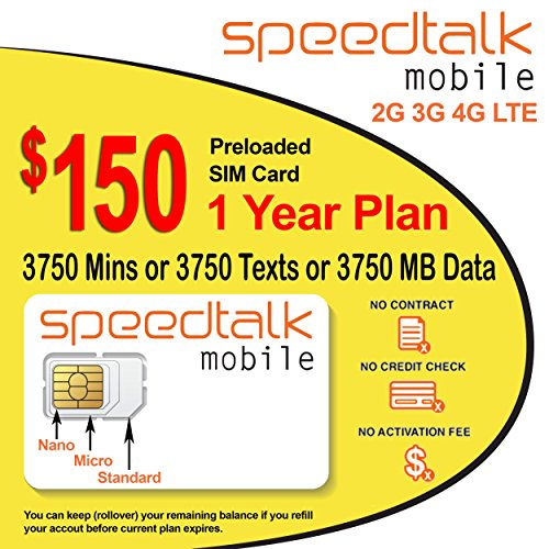 1 Year Wireless Plan Prepaid GSM SIM Card Rollover Talk Text Data No Contract by SpeedTalk Mobile