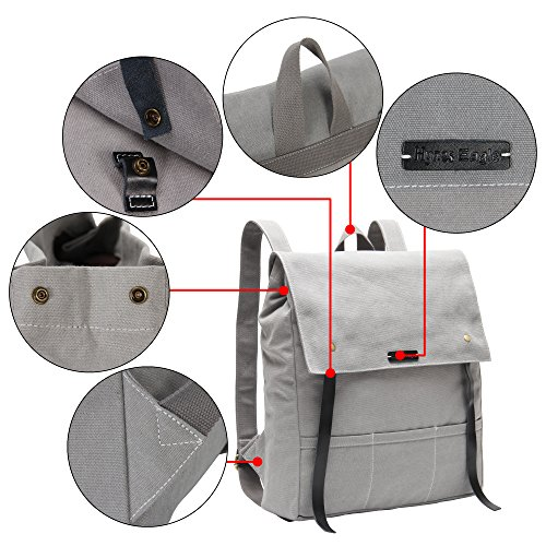 Hynes Eagle Urban Traveler Canvas Backpack Fits 15.6 inch Laptop Light Gray by Hynes Eagle (Image #4)