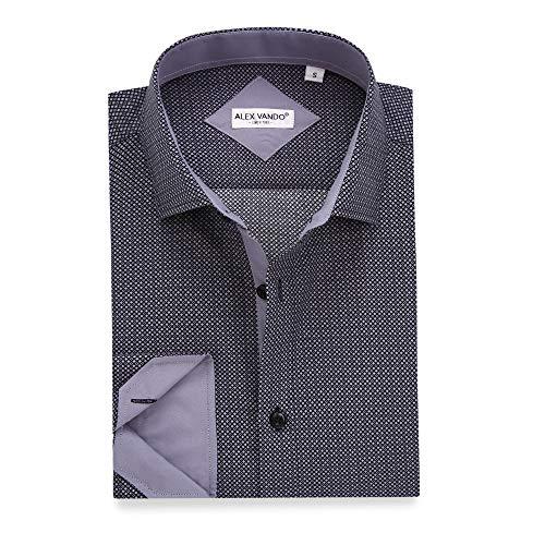 Alex Vando Mens Printed Dress Shirts Long Sleeve Regular Fit Casual Fashion Shirt(Black130,Medium)
