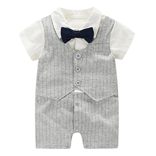 Fairy Baby Summer Baby Boy Gentleman Outfit Formal Short Sleeve Bowtie Tuxedo Dress Suit,9-12M,Grey Stripe]()