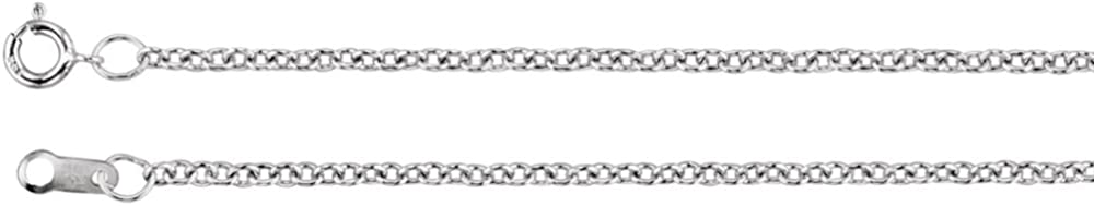 14K White Gold 1.5mm Solid Cable 16 Chain