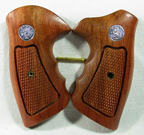 Smooth Industries Wood Checkered Grips for Colt Diamondback, Colt Detective D Frame, Short Square Butt, New