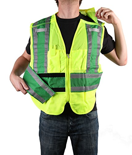 Safety Depot Class 2 Ansi/ISEA Mesh Reflective 5 Point Breakaway Public Safety Vest With Zipper, Pockets, Mic and Radio Tabs ANSI/ISEA Color Coded PWB503 (EMS Green Filled, Regular) (Ems Rescue Vest)