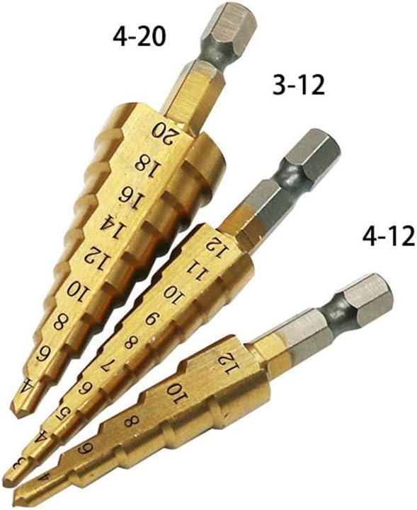 Artensky 3Pcs Foret /à c/ône /étag/é HSS /à queue hexagonale Outils /électroportatifs Accessoires Coupe-trou Changement rapide