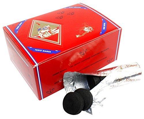 Premium Charcoal Incense - Three King Charcoal -33 mm Premium Hookah Incense Charcoal Coals, 2 Box of 100 Piece, Total 200 Piece by Three King Charcoal -33 mm