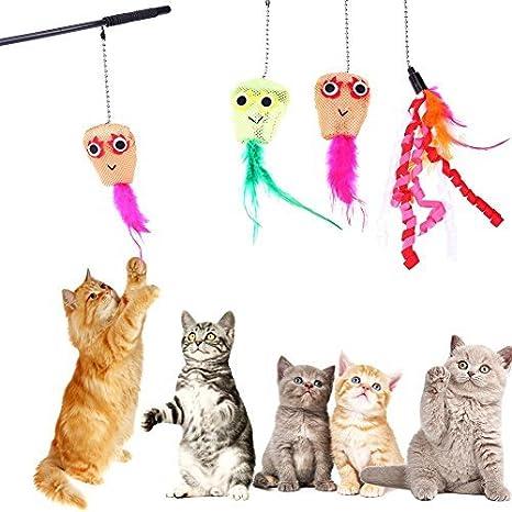 Broadroot caña de pescar artificial para gatos con 3 cabezales de repuesto para mascotas: Amazon.es: Productos para mascotas