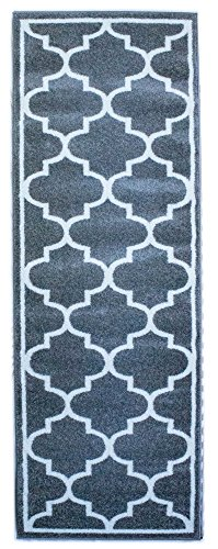 Super Area Rugs Ornate Rug, Gray & White Geometric Trellis Non-Shedding Stain Resistant Carpet, 2' 7
