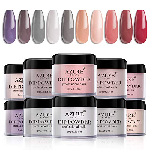 Dip Powder Nails Color Set with 10 Nude Gray Series Colors Dipping Powder Nails System for French Nail Manicure Nail Art No UV/LED Nail Lamp Needed