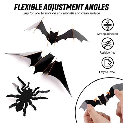 HANSGO 3D Halloween Wall Stickers,124PCS Bat Spiders Wall Decorations with 7 Types Realistic Looking Scary Spooky for Halloween Party Favors Props Supplies Cemetery Decor
