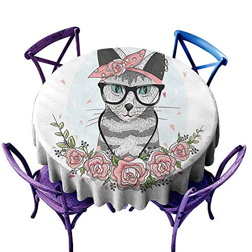 Kitten Circular Table Cover Hipster Cool Cat with Spectacles Scarf Necklace Earrings and Flowers Little Hearts pad Round Tablecloth Multicolor Diameter -