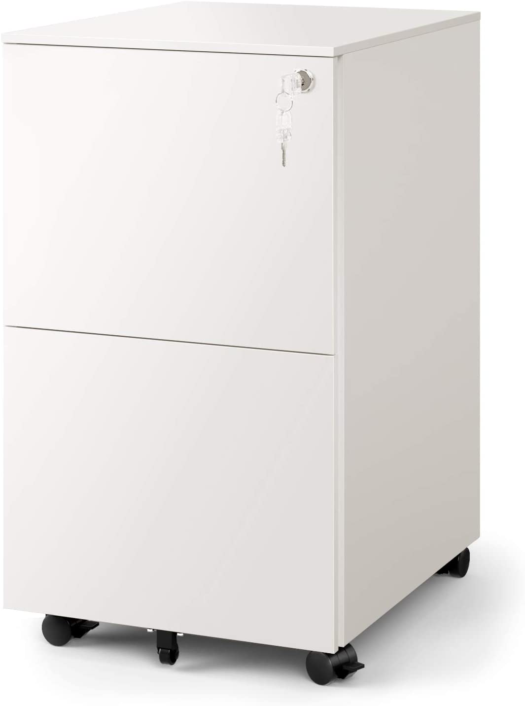 DEVAISE 35-Drawer Mobile File Cabinet with Lock, Commercial Vertical Cabinet  in White