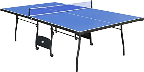Blue 9FT Table Tennis Tables Indoor Outdoor Folding Full Size Ping Pong Table for Games Activities