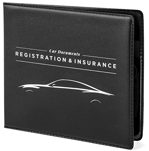 CAR DOCUMENTS HOLDER for Insurance, DMV, Registration, AAA, Auto Club, for Car Truck SUV, Motorcycle, velcro closure, safely store important documents in glove box or visor flap. Stress reducing.
