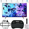 """Samsung 55"""" Class QLED Smart 4K UHD TV 2018 Model (QN55Q6FNAFXZA) with Wall Mount Ultimate Bundle Kit for 32-60 inch TVs, Wireless Backlit Keyboard & SurgePro 6-Outlet Surge Adapter"""