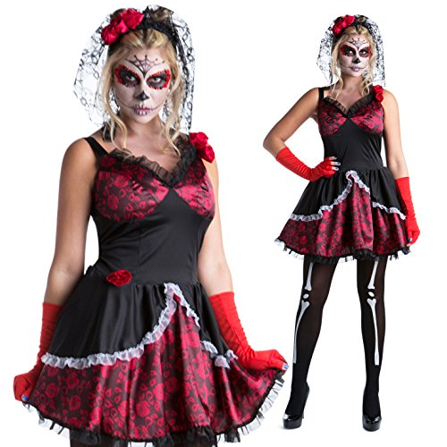 [Womens Sugar Skull Day of the Dead Sexy Skeleton Costume - 4 Piece Quality Costume] (Fantastic 4 Costume Uk)