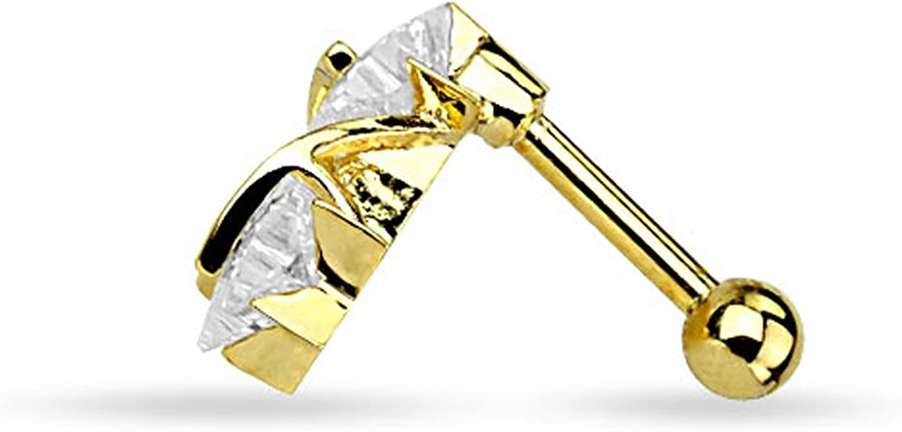 Fifth Cue 16G Star CZ Triangle 14Kt Gold Plated Over 316L Surgical Steel Cartilage Tragus Basic Barbell Stud
