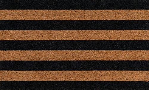 (Erin Gates by Momeni Park Stripe Black Hand Woven Natural Coir Doormat 1'6
