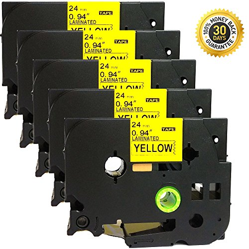 5 PK TZ Tze-651 Label Tape Cartridge Black on Yellow Brother P-Touch 24mm x 8m