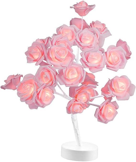 LED Table Lamp Rose Flower Tree Light USB Night Lights Home Decoration Christmas