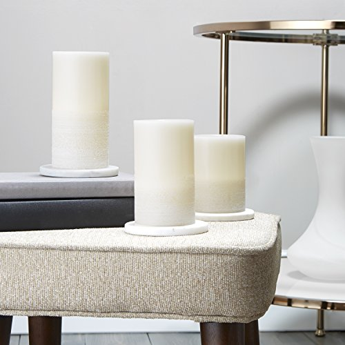 """Wax Flameless Pillar Candles with Remote, 4"""",5"""",6"""" Height, Warm White LEDs, Ivory Smooth Candle with Textured Base, Batteries Included - Set of 3"""