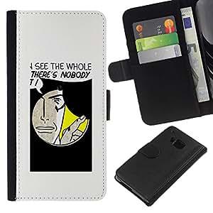 // PHONE CASE GIFT // Moda Estuche Funda de Cuero Billetera Tarjeta de crédito dinero bolsa Cubierta de proteccion Caso HTC One M9 / Funny Hole Message /