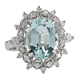 4.48 Carat Natural Aquamarine And Diamond Ring In 14K Solid White Gold