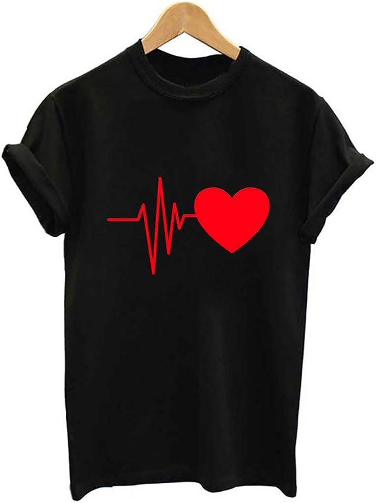 Chakimi Womens Shirts Crewneck Short Sleeve Summer Heart Print Casual Looses Tops Blouse T-Shirt