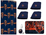 The Northwest Company NFL Chicago Bears 18 Piece Bath Ensemble #37184457: Set Includes 1 Shower Curtain, 12 Shower Hooks, 4 Bath Towels, 1 Bath mat