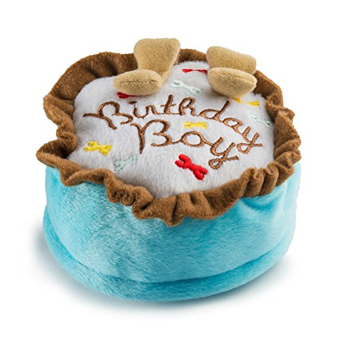 Haute Diggity Dog Yip Yip Hooray Collection | Unique Squeaky Plush Dog Toys  Celebrate with Pupcakes! (Boy - Blue, Large)