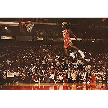 Poster Michael Jordan Famous Foul Line Dunk Vintage Sports Basketball Print 35in X