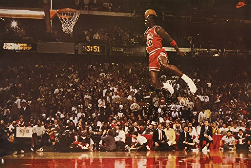MJ Michael Jordan Famous Foul Line Dunk Vintage Sports (Basketball) Poster Print (35in x 23.5in)