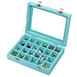 MeJell 24 Slot Velvet Glass Jewelry Box Organizer Rings Earrings Tray Display Storage Case (Sky Blue)