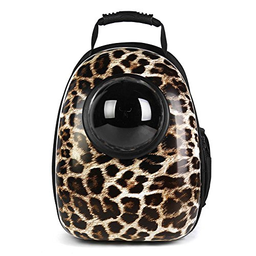 Accreate Astronaut Pet Breathable Space Capsule Backpack Pet Carrier Travel Bags For Small Cats And Dogs  Leopard