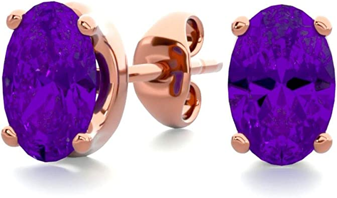 Amazon Com Amethyst Earrings For Women In Sterling Silver Yellow Gold Over Sterling Silver And Rose Gold Over Sterling Silver 3 4 Carat Jewelry