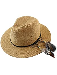 ee9e291ae97d0 Women Straw Fedora Hat Wide Brim Summer Foldable Panama Beach Sun Hat UPF50+