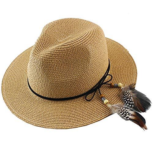 755c43993 Women Straw Fedora Hat Wide Brim Summer Foldable Panama Beach Sun Hat  UPF50+ Khaki