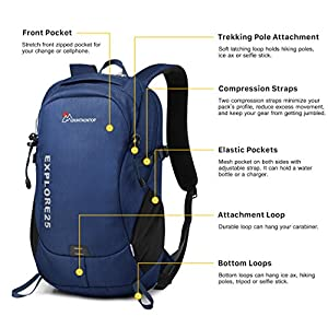 Mountaintop Casual Daypack College Backpack for Travel Hiking Rucksack Blue