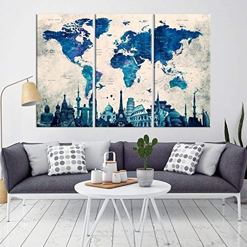 Amazon Com 3 Piece Navy Blue Watercolor Push Pin World Map Canvas