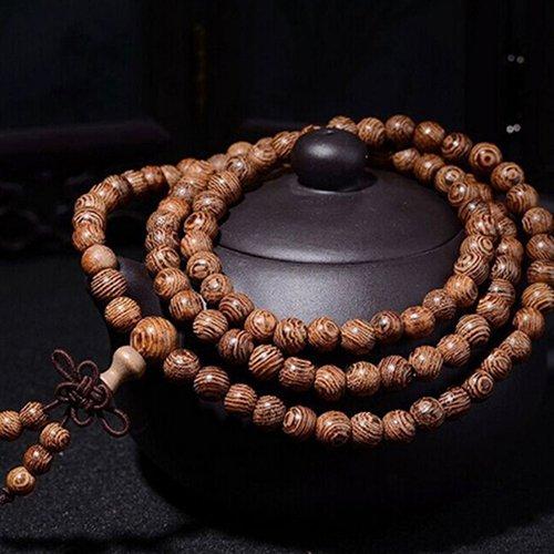 nuovo prodotto 37191 9243c Collana legno braccialetto buddista tibetano in perline di legno ...