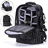 SZ5CGJMY ® DSLR Camera Backpack Bag Case Shockproof waterproof for Nikon Canon with cover black Adjustable Ergonomic Harness with Chest/Waist Straps