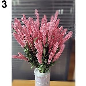 WskLinft Home Decoration Wedding Silk Flowers High Simulation 12 Heads Lavender Bouquet - Red 41