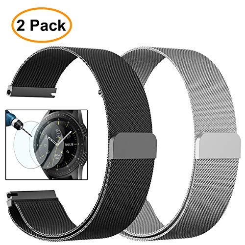 Valkit for Galaxy Watch (46mm) Bands, 2 Pack 22mm Stainless Steel Band, Milanese Loop Mesh Wrist Band Metal Replacement Strap Magnet + Screen Protector for Samsung Galaxy Watch 46mm SM-R800