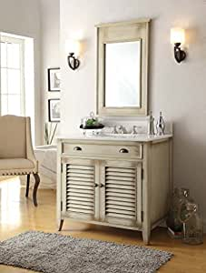 "36"" Cottage look Abbeville Bathroom Sink Vanity Set w/Crystal White top (Mirror Included) # CF-28324CW"