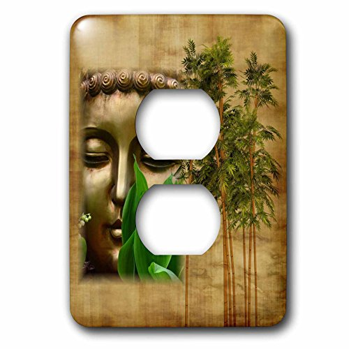 3dRose Religion - Image of Chinese Buddha Face With Bamboo - Light Switch Covers - 2 plug outlet cover (lsp_279884_6) by 3dRose