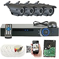 GW Security 4 Channel HD 2.0MP 1080P HD CCTV Outdoor/ Indoor Security Camera System with Pre-Installed 1TB Hard Drive - High Resolution Long Distance Transmit Range (Bullet Camera)
