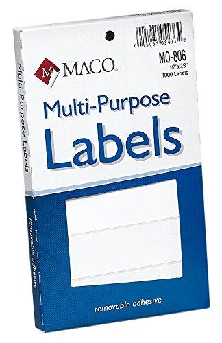 MACO White Oval Multi-Purpose Labels, 1/2 x 3/8 Inches, 1000 Per Box (MO-806)