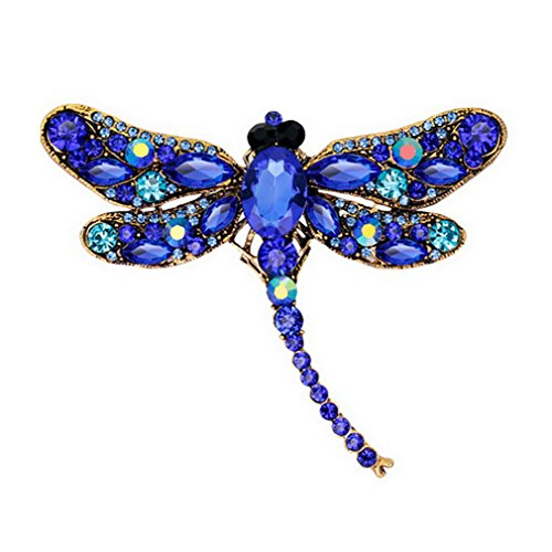 YAZILIND Exquisite Dragonfly Inlaid Rhinestones Alloy Brooch Pin For Women Girls Accessories(Blue)