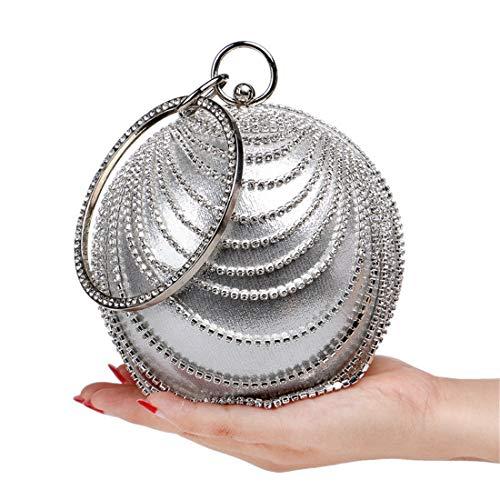 Luckywe Mode Femmes à Main Pochette Sacs Sacs Perlée Boule Mariage métal Argent Soirée Embrayages rttZqnxp